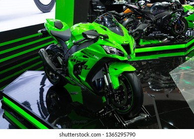 Nonthaburi , Thailand - April 3, 2019: close up body of Kawasaki Ninja ZX-10RR bigbike green color presented in motor show thailand .