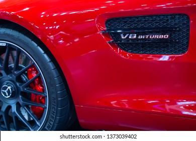 Nonthaburi, Thailand - April 3, 2019: Mercedes Benz AMG GT V8 BITURBO side vent presented in Motor Show 2019