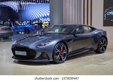 Nonthaburi, Thailand - April 3, 2019: Aston Martin DBS presented in Motor Show 2019