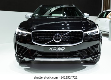 Nonthaburi , Thailand - April 3, 2019: close up front view of Volvo XC60 twin engine hybrid super luxury automobile presented in motor show Thailand .