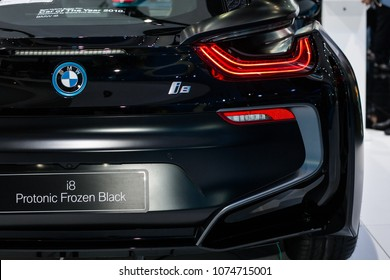 Nonthaburi , Thailand   April 7, 2018 : BMW I8 Protonic Frozen Black Hybrid  Sports