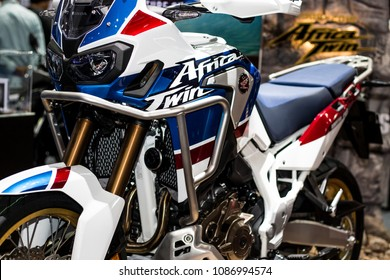 Nonthaburi , Thailand - April 7, 2018 : Honda Africa Twin new generation . electronic motorcycle adventure sports style . bigger tank and longer legs . big bike in motor show .