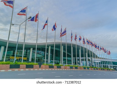 Nonthaburi Thailand August 6, 2017 Label in front of the Convention Center and the IMPACT Muang Thong Thani Convention Center, the largest exhibition venue in Southeast Asia.