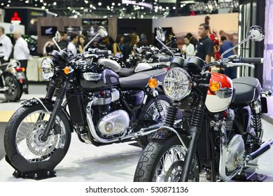 NONTHABURI, THAILAND -DEC 01, 2016 ;Triumph Motorcycle on display the  MOTOR  EXPO 2016 at IMPACT Arena, Muang Thong Thani on December 01, 2016 in Nonthaburi, Thailand.