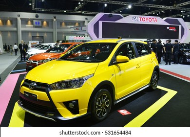 NONTHABURI, THAILAND -DEC 01, 2016 ; New Toyota yaris TRD Sportivo on display the MOTOR EXPO 2016 at IMPACT Arena, Muang Thong Thani on December 01, 2016 in Nonthaburi, Thailand