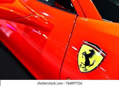 NONTHABURI, THAILAND -DEC 01, 2017 ; Logo of Ferrari on the sport car. in the MOTOR EXPO 2017 at IMPACT Arena, Muang Thong Thani , Nonthaburi, Thailand
