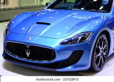 NONTHABURI, THAILAND - December 01: Details of the Maserati Gran Turismo MC Stradale on display during the Thailand International Motor Expo 2014 on December 01, 2014 in Nonthaburi, Thailand.