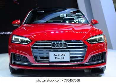 NONTHABURI, THAILAND - December 02: The Audi A5 Coupe Quattro is on display at Thailand International Motor Expo 2017 on December 02, 2017 in Nonthaburi, Thailand.