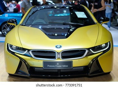 NONTHABURI, THAILAND - December 02: The BMW i8 Protonic Frozen Yellow is on display at Thailand International Motor Expo 2017 on December 02, 2017 in Nonthaburi, Thailand.