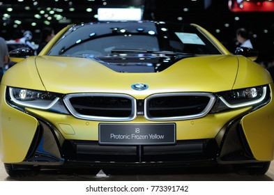 NONTHABURI, THAILAND - December 02: Details of the BMW i8 Protonic Frozen Yellow on display at Thailand International Motor Expo 2017 on December 02, 2017 in Nonthaburi, Thailand.