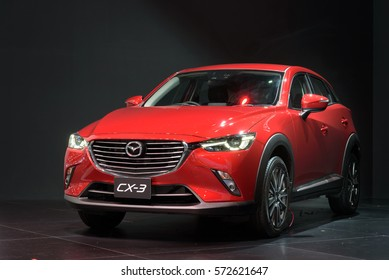 NONTHABURI, THAILAND - DECEMBER 1: The Mazda CX-3 Skyactive-G is on display at the 32nd Thailand International Motor Expo 2015 on December 1, 2015 in Nonthaburi, Thailand.