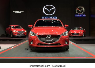 NONTHABURI, THAILAND - DECEMBER 1: The Mazda 2 is on display at the 32nd Thailand International Motor Expo 2015 on December 1, 2015 in Nonthaburi, Thailand.