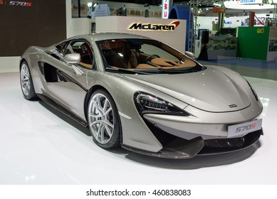 NONTHABURI, THAILAND - DECEMBER 1: The McLaren Sports Series 570s is on display at the 32nd Thailand International Motor Expo 2015 on December 1, 2015 in Nonthaburi, Thailand.