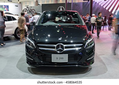 NONTHABURI, THAILAND - DECEMBER 1: The Mercedes Benz B200 is on display at the 32nd Thailand International Motor Expo 2015 on December 1, 2015 in Nonthaburi, Thailand.