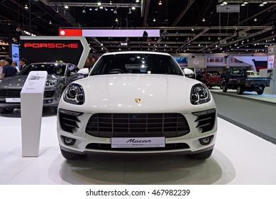 NONTHABURI, THAILAND - DECEMBER 1: The Porsche Macan is on display at the 32nd Thailand International Motor Expo 2015 on December 1, 2015 in Nonthaburi, Thailand.