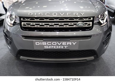 NONTHABURI, THAILAND - DECEMBER 10, 2019 : Close up of front view LANDROVER DISCOVERY SPORT display at The 36th Bangkok international mortor show at Nonthaburi, Thailand.