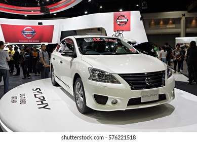 NONTHABURI, THAILAND - DECEMBER 13: The Nissan Sylphy DIG Turbo 190HP is on display at the 32nd Thailand International Motor Expo 2015 on December 13, 2015 in Nonthaburi, Thailand.