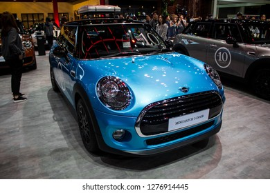 Nonthaburi, THAILAND, December 2018 : Mini hatch 3 door on display in Bangkok International Motor Expo 2018 at Impact Arena exhibition Muangthong Thani in Thailand.
