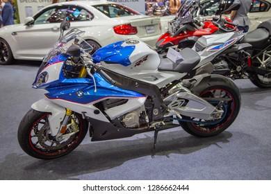 Nonthaburi, Thailand - December 4, 2018: BMW S 1000 RR Superbike presented in Motor Expo 2018