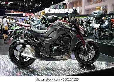 NONTHABURI, THAILAND - DECEMBER 8: The Kawasaki Z1000 is on display at the 32nd Thailand International Motor Expo 2015 on December 8, 2015 in Nonthaburi, Thailand.
