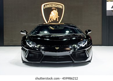 NONTHABURI, THAILAND - DECEMBER 8: The Lamborghini Aventador is on display at the 32nd Thailand International Motor Expo 2015 on December 8, 2015 in Nonthaburi, Thailand.