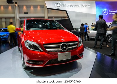 NONTHABURI, THAILAND - DECEMBER 8: The Mercedes Benz B200 is on display at the 31st Thailand International Motor Expo 2014 on December 8, 2014 in Nonthaburi, Thailand.