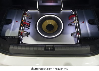 NONTHABURI, THAILAND - DECEMBER 9,2017 : View of Car Speaker,Subwoofers, and Amps show in car on booths at Thailand International Motor-Expo 2017