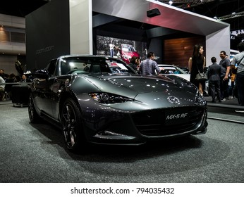 Nonthaburi, THAILAND, December2017 : Mazda MX5 RF on display in Motor Expo 2017 at Impact Arena exhibition Muangthong Thani in Thailand.