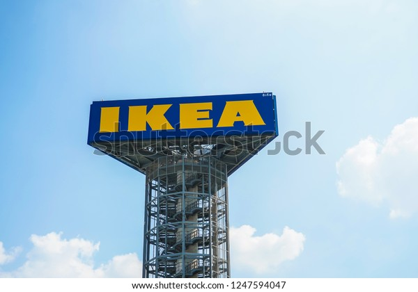 Nonthaburi, Thailand - Decenbe 3, 2018 : Large IKEA Signboard at IKEA Store in Bangyai, Nonthaburi, Thailand. Ikea was founded in Sweden in 1943, Ikea is the world's largest furniture retailer.