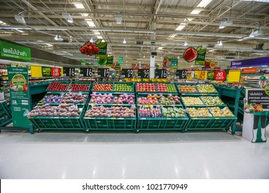 Nonthaburi, Thailand - February 03, 2016: Shelf of fresh fruits  chinese pear at Tesco Lotus supermarket Tesco Lotus is the world's second largest retailer.
