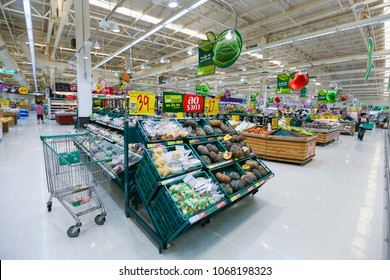 Nonthaburi, Thailand - February 13, 2013:   view  shelf of product for customer shopping at Tesco Lotus supermarket. Tesco Lotus is the world's second largest retailer