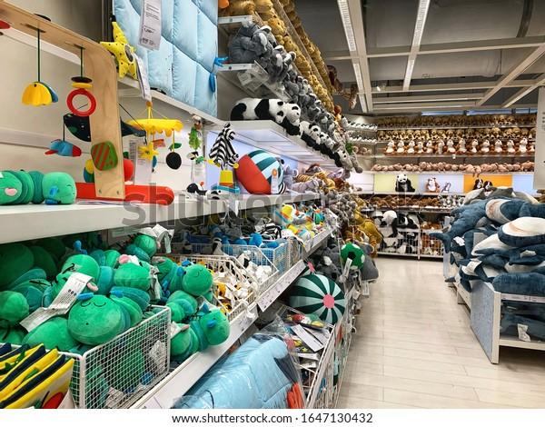 NONTHABURI, THAILAND. February 16, 2020: Toys department at IKEA store.