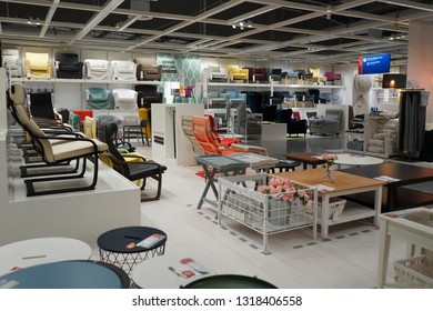 Nonthaburi, Thailand - February 20, 2019 : Interior of large IKEA store in Thailand. Ikea was founded in Sweden in 1943, Ikea is the world's largest furniture retailer.