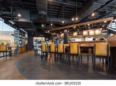 Nonthaburi, Thailand - February 24, 2016: Interior view of STARBUCKS cafe at Central Westgest on FEB 24, 2016. Starbucks is the largest coffeehouse company in the world, with more then 23000 stores.