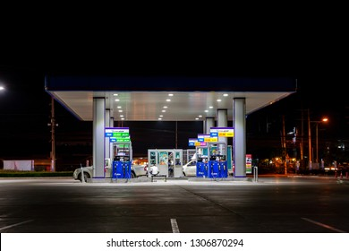 Nonthaburi, Thailand - February 3, 2019: PTT gas station at night.