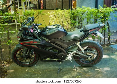 Nonthaburi, Thailand - July, 04, 2018 : Bigbike motorcycle brand Yamaha Steed 500CC at maintenance repair service station, Nonthaburi, Thailand