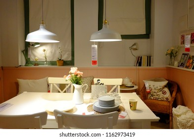 NONTHABURI, THAILAND   JULY 22,2018 : A White Dinning Table With  Kitchenwares Display