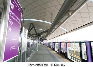 Nonthaburi, Thailand - JUN 16. 2018 : Train  arriving at station, MRT Purple Line is an alternative Skytrain Company in Thailand which connect to subway or metro station