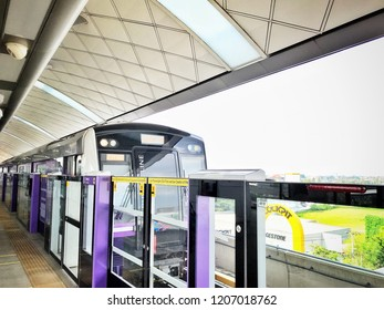 Nonthaburi, Thailand June 18, 2018 : Train subway station. MRT Purple Line skytrain. Transport concept.