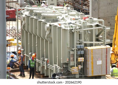 NONTHABURI -THAILAND - JUNE 24 : Construction of EGAT's North Bangkok gas combine cycle power plant 800 MW, transformer loading on June 24, 2014 in Nonthaburi, Thailand