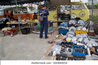 Nonthaburi, Thailand - March 10, 2018: VW microbus owner sell VW used spare parts in volkswagen club meeting at car park of Robinson department store