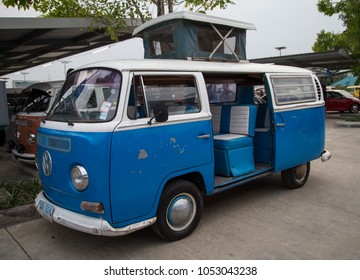 Nonthaburi, Thailand - March 10, 2018: VW van microbus show in volkswagen club meeting at car park of Robinson department store