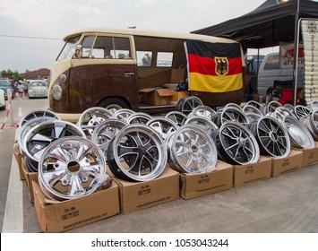 Nonthaburi, Thailand - March 10, 2018: VW van owner sell VW wheels and parts in volkswagen club meeting at car park of Robinson department store