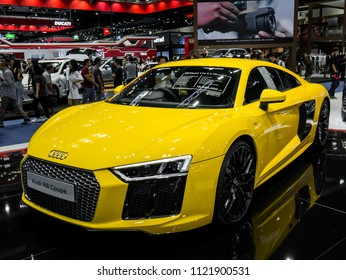 Nonthaburi, THAILAND, March 2018 : Audi r8 coupe on display in Bangkok International Motor Show 2018 at Impact Arena exhibition Muangthong Thani in Thailand.
