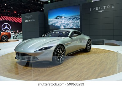 NONTHABURI, THAILAND - MARCH 22: The Aston Martin DB10 Spectre 007 is on display at the 37th Bangkok International Motor Show 2016  on March 22, 2016 in Nonthaburi, Thailand.
