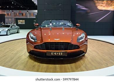 NONTHABURI, THAILAND - MARCH 22: The Aston Martin DB11 is on display at the 37th Bangkok International Motor Show 2016  on March 22, 2016 in Nonthaburi, Thailand.
