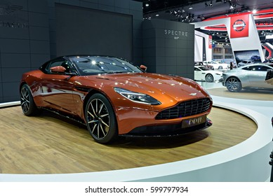 NONTHABURI, THAILAND - MARCH 22: The Aston Martin DB11 is on display at the 37th Bangkok International Motor Show 2016  on March 22, 2016 in Nonthaburi, Thailand.