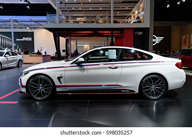 NONTHABURI, THAILAND - MARCH 22: The BMW 420d Coupe is on display at the 37th Bangkok International Motor Show 2016  on March 22, 2016 in Nonthaburi, Thailand.