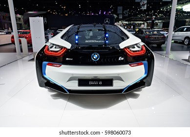 NONTHABURI, THAILAND - MARCH 22: The BMW i8 is on display at the 37th Bangkok International Motor Show 2016  on March 22, 2016 in Nonthaburi, Thailand.
