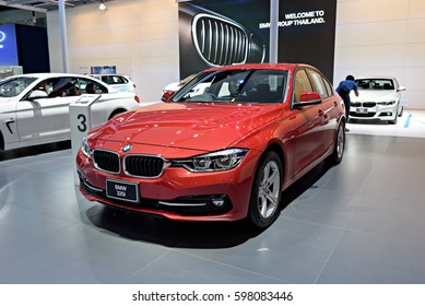 NONTHABURI, THAILAND - MARCH 22: The BMW 320i is on display at the 37th Bangkok International Motor Show 2016  on March 22, 2016 in Nonthaburi, Thailand.